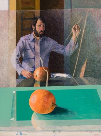 2 pav. A. Švėgžda, Autoportretas su moliūgu, 1977. Kartonas, tempera. 115 x 87 cm.