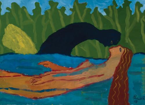 3 pav. Vygantas Paukštė. Angelas Sargas. 1990. Drobė, aliejus. 80 x 110 cm.