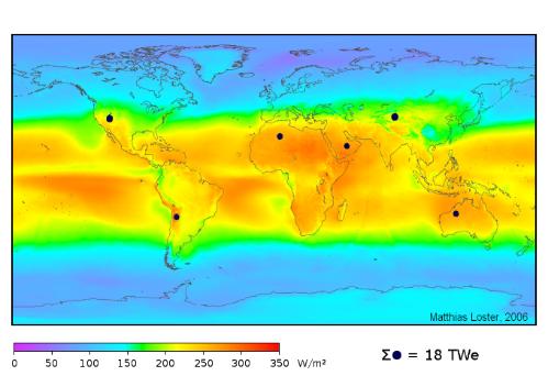 Paveikslėlis 1. Saulės šviesos spindulių energijos tankis įvairiose Žemės vietose, išmatuotas per 3 metų laikotarpį. (Matthias Loster, 2010, http://www.ez2c.de/ml/solar_land_area/)
