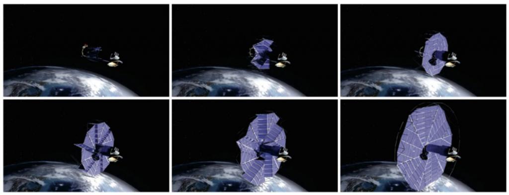 Paveikslėlis 4. Kosminio zondo su išsiskleidžiančias saulės elementais maketas. (Brigham Yound University, 2015)