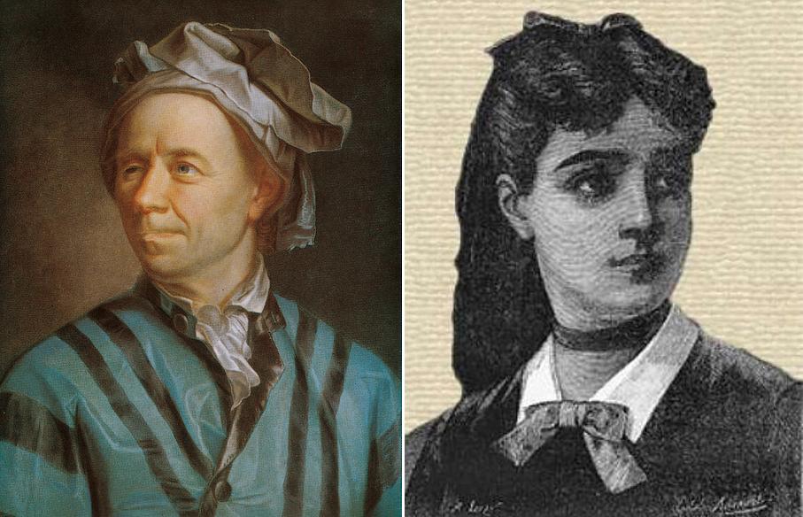 Kairėje - Leonardas Euleris (1707-1783); dešinėje - Sofi Žermen (1776-1831)