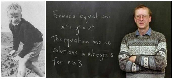 Kairėje - Endriu Vailsas, kai pirmąkart  sužinojo apie Fermą galvosūkį; dešinėje - Endriu Vailsas pristato Kemdridže Didžiosios Ferma teoremos įrodymą