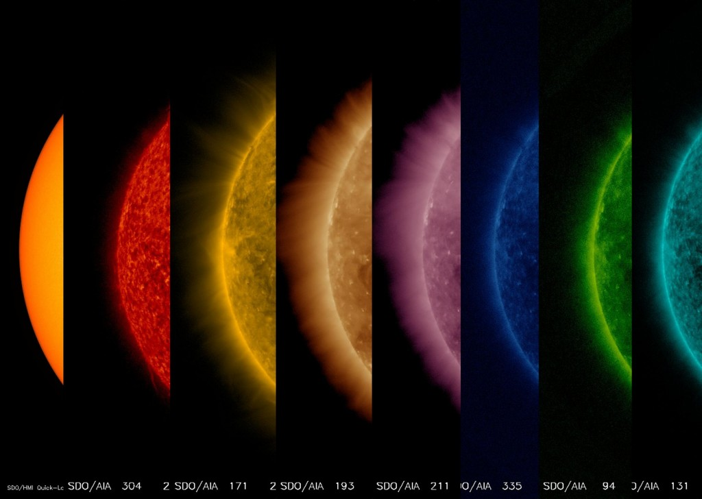 Saulės nuotraukos, nuo paviršiaus iki viršutinių atmosferos sluoksnių. Šaltinis: NASA/GSFC/Solar Dynamics Observatory