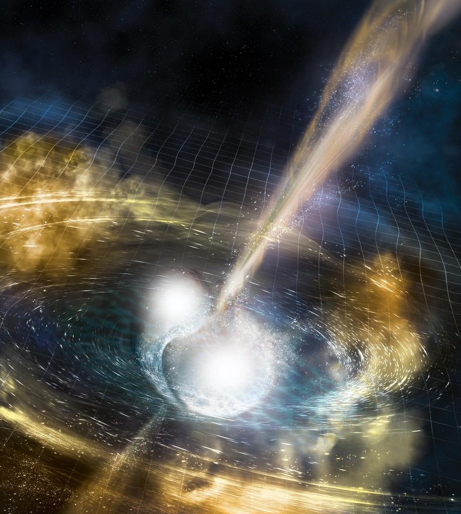 Neutroninių žvaigždžių susiliejimo vizualizacija. Šaltinis: LIGO collaboration