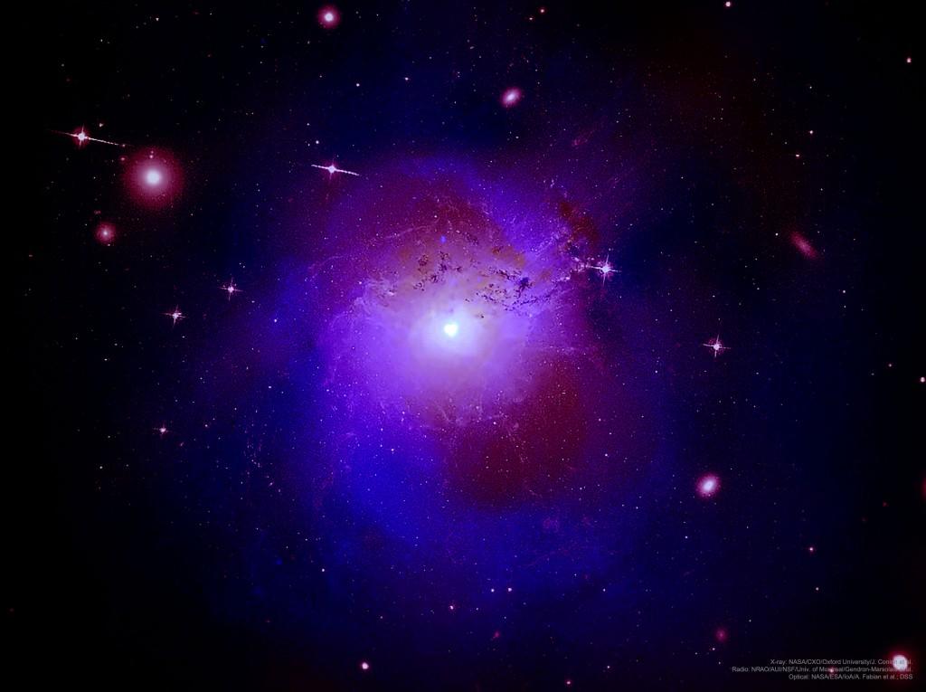 Persėjo spiečius. Šaltinis: Rentgenas: NASA/CXO/Oxford University/J. Conlon et al.; Radijo bangos: NRAO/AUI/NSF/Univ. of Montreal/Gendron-Marsolais et al.; Regimieji spinduliai: NASA/ESA/IoA/A. Fabian et al.; DSS