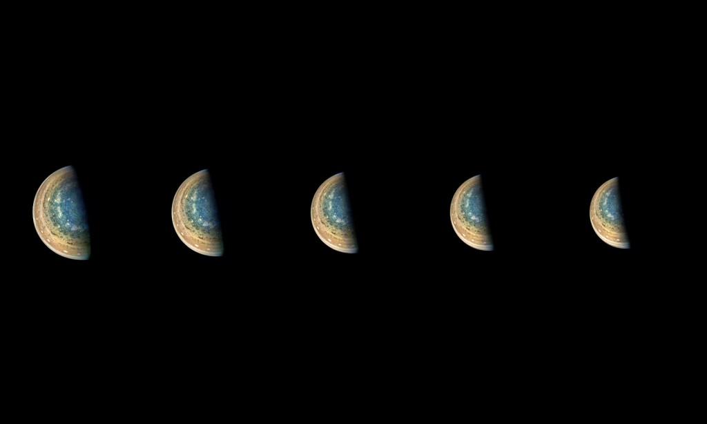 Jupiterio pietų ašigalis 11 Juno praskridimo metu. ©Gerald Eichstadt/NASA/JPL-Caltech/SwRI/MSSS