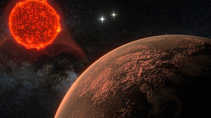 Proksimos b vaizdas (dailininko įsivaizdavimas). Fone matyti Kentauro Alfos dvinarė. Šaltinis: Ricardo Ramirez & James Jenkins (Department of Astronomy, Universidad de Chile)