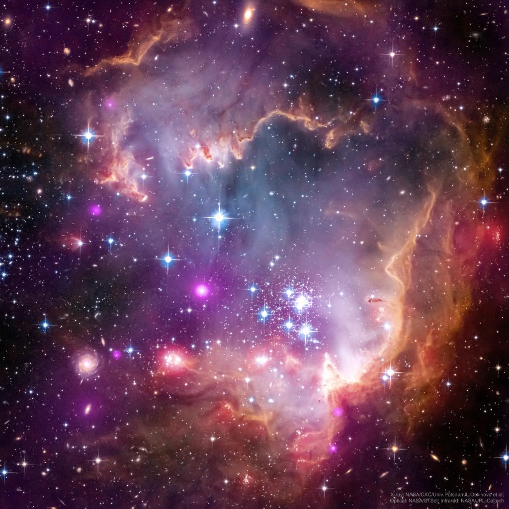 Ūkas NGC 602, įvairių bangos ilgių montažas. Šaltinis: X-ray: Chandra: NASA/CXC/Univ.Potsdam/L.Oskinova et al; Optical: Hubble: NASA/STScI; Infrared: Spitzer: NASA/JPL-Caltech