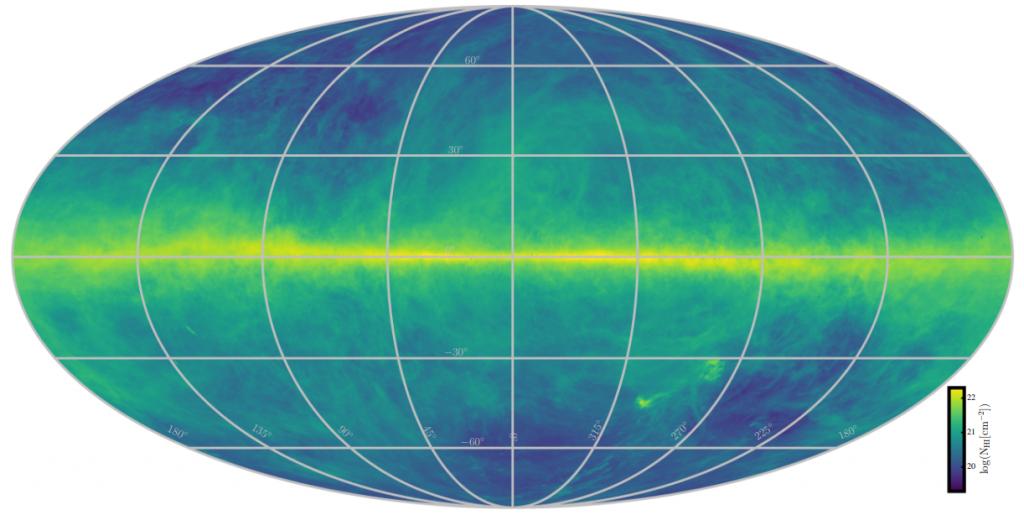 Dangalapis, rodantis neutralaus vandenilio pasiskirstymą, apskaičiuotą pagal 21 cm spektrinės linijos švytėjimą. Sutankėjimas ties viduriu yra mūsų Galaktikos plokštuma. Šaltinis: HI4PI collaboration, Ben Bekhti ir kt. (2016)