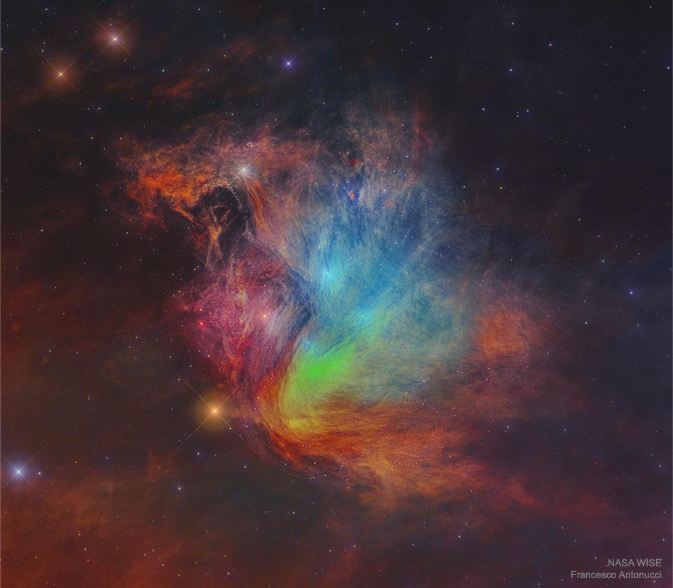 Plejadų (Sietyno) spiečius infraraudonuosiuose spinduliuose. ©WISE, IRSA, NASA, Francesco Antonucci