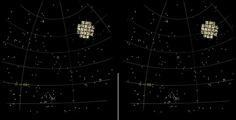 Keplerio katalogas (kryžius dešinėje viršuje), uždėtas ant dangaus skliauto. Šaltinis: Fluke & Barnes 2018