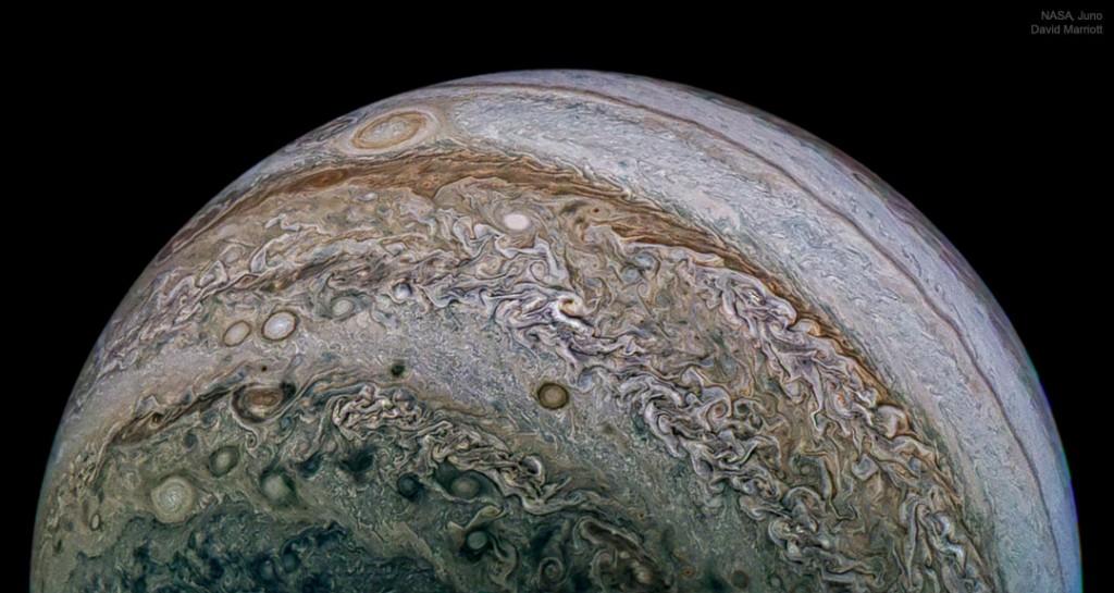 Jupiterio raštai. Šaltinis: NASA, Juno, SwRI, MSSS, David Marriott