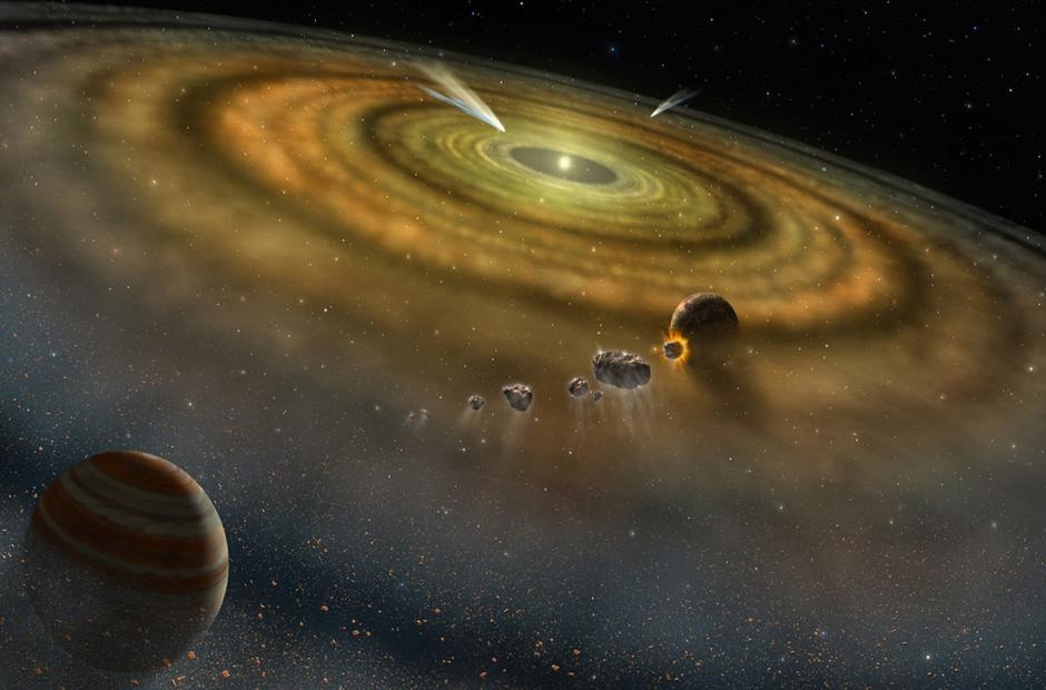 Taip galėtų atrodyti besiformuojanti planetų sistema prie jaunos žvaigždės Tapytojo betos. Vizualizacijos šaltinis: NASA