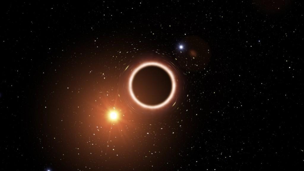 Dailininko vizualizacija, kaip galėtų atrodyti žvaigždė S2, skrendanti šalia Paukščių Tako centrinės juodosios skylės Sgr A*. ©ESO