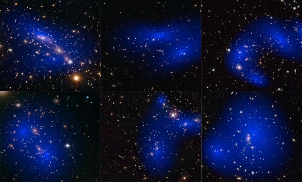 Tamsiosios materijos halai (mėlyna spalva), identifikuoti šešiuose spiečiuose pagal gravitacinio lęšiavimo signalus. Tamsiosios materijos pasiskirstymas visiškai nesutampa su regimosios. ©NASA, ESA, D. Harvey, R. Massey