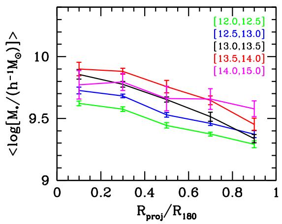 Vidutinė palydovinių galaktikų masė priklausomai nuo atstumo iki galaktikų spiečiaus centro. Skirtingos linijos žymi skirtingus motininių galaktikų masių intervalus. Šie rezultatai nėra visiškai vienareikšmiški, kiti autoriai priklausomybės neranda. Šaltinis: van den Bosch et al. (2008)