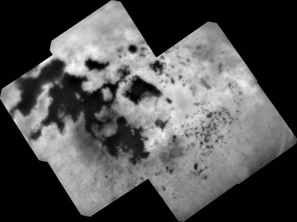 Titano šiaurės pusrutulio ežerai ir jūros netoli ašigalio. Cassini nuotrauka, daryta prieš metus. Šaltinis: NASA/JPL-Caltech/SSI