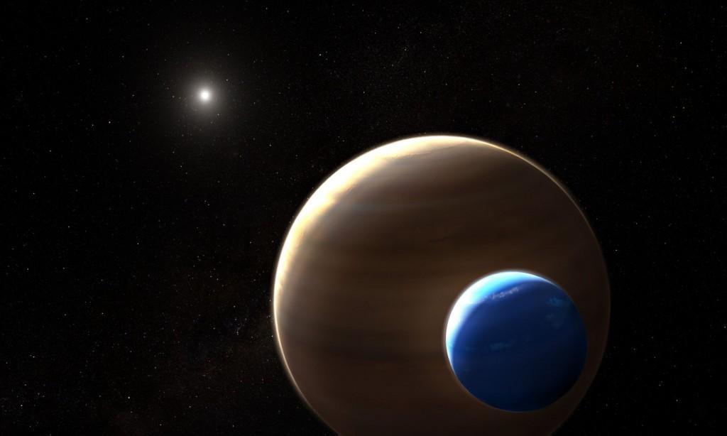 Dailininko vizualizacija, kaip gali atrodyti Keplerio 1625 sistema – planeta-milžinė su Neptūno dydžio palydove. Ar gali ta palydovė turėti savo submėnulių? Šaltinis: NASA/ESA/L. Hustak