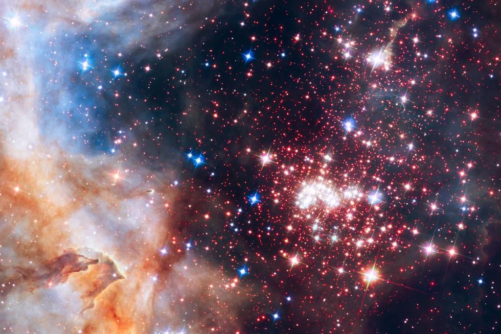 Žvaigždžių būna įvairiausių – didelių ir mažų, karštų ir dar karštesnių, jaunų ir senų. Beveik visų jų energija kyla iš termobranduolinių reakcijų, kuriose vandenilis jungiasi į helį. Šioje nuotraukoje matome žvaigždžių spiečių Westerlund 2, kuriame yra bent 3000 tokių termobranduolinių krosnių. Šaltinis: NASA, ESA, the Hubble Heritage Team (STScI/AURA), A. Nota (ESA/STScI), and the Westerlund 2 Science Team