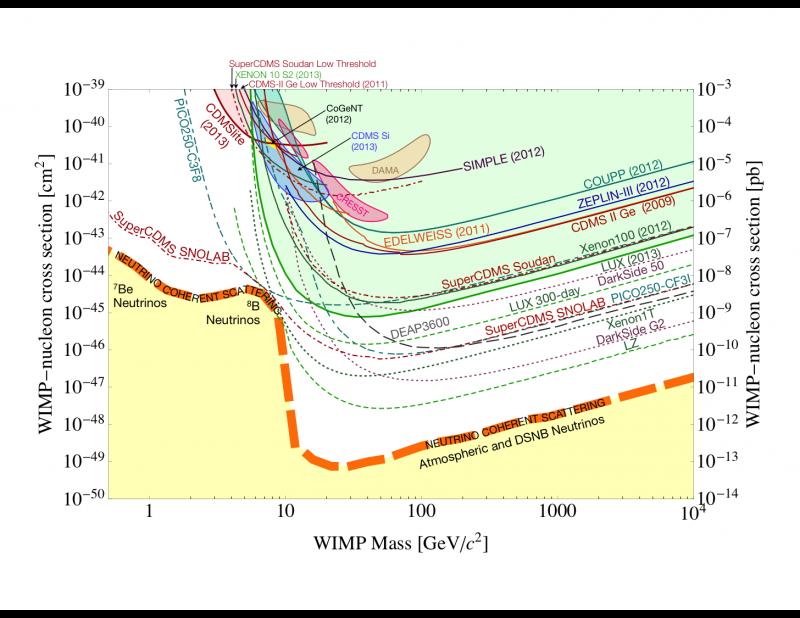 Daugybės tamsiosios materijos paieškų eksperimentų rezultatai. Grafiko horizontaliojoje ašyje atidėta tamsiosios materijos dalelės masė, vertikaliojoje – jos sąveikos su įprasta materija stiprumas, išreiškiamas ploto vienetais. Kreivės yra skirtingų eksperimentų gautos viršutinės ribos – priklausomai nuo masės, sąveika negali būti stipresnė, nei rodo linija, nes kitaip būtų aptikta. Rusvai pažymėti du uždari kontūrai arti viršaus – DAMA/LIBRA rezultatas (vienas kontūras atitinka sąveiką su natrio atomais, kitas – su jodo). Keli kiti uždari kontūrai yra CRESST, CDMS ir CoGENT eksperimentų rezultatai, kurie vėliau, surinkus daugiau duomenų, pranyko. Šaltinis: Cushman ir kt. 2013