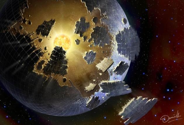 Vienas iš ryškiausių technopėdsakų būtų visą žvaigždę gaubianti Daisono sfera. Šaltinis: Danielle Futselaar / SETI International